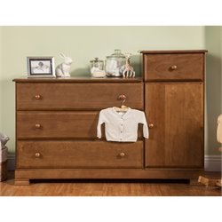 DaVinci Kalani Wood 4 Drawer Combo Chest With Shelf in Chestnut