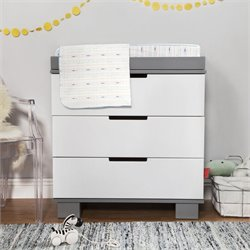 Babyletto Modo 3 Drawer Wood Changing Table with Tray in White & Grey