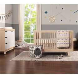 Babyletto Hudson 3-in-1 Conversion Crib and Dresser in Washed Natural