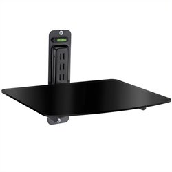 Single DVD Component Shelf for Flat Screen TV in Black
