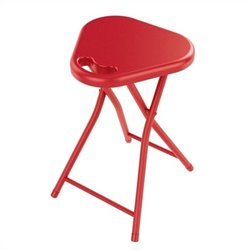 Folding Stool with Handle in True Red (Set of 4)