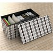Rectangular Ottoman in Lava and Shades of Gray (Set of 2)