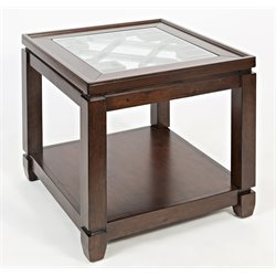 Jofran Casa Bella Square Glass Top End Table in Cherry