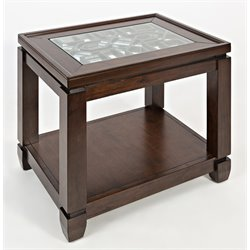Jofran Casa Bella Glass Top End Table in Cherry