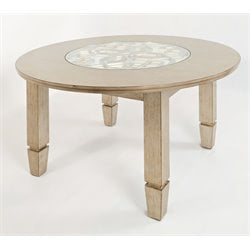 Jofran Casa Bella Round Glass Top Dining Table in Vintage Silver