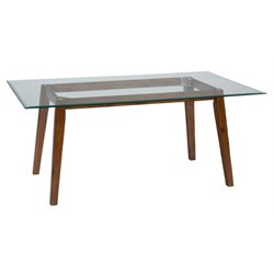 Jofran Plantation Glass Top Dining Table in Medium Brown