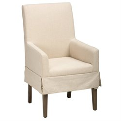Jofran Hampton Upholstered Dining Arm Chair in Sandblasted Gray