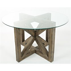 Jofran Hampton Road Round Glass Top Dining Table in Sandblasted Gray