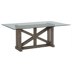 Jofran Hampton Glass Top Dining Table in Sandblasted Gray
