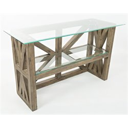 Jofran Hampton Road Glass Top Sideboard in Sandblasted Gray