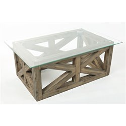 Jofran Hampton Road Glass Top Coffee Table in Sandblasted Gray