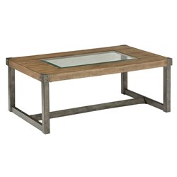Jofran Freemont Glass Top Coffee Table in Smoky Wood