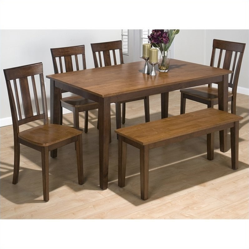 Jofran 5 piece rectangle dining set in kura espresso and for Rectangle kitchen table with bench