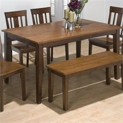 Jofran Rectangle Dining Set in Kura Espresso and Canyon Gold