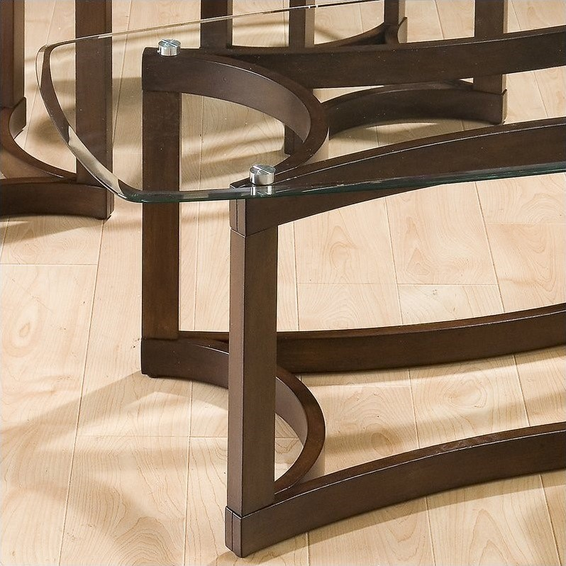 Jofran 3 Piece Glass Top Coffee and End Table Set in Bellingham Brown
