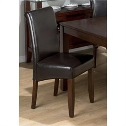 Jofran 888 Series Chestnut Bonded Leather Parson Dining Chair (Set of 2)
