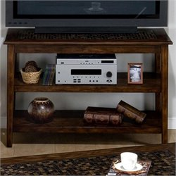Jofran Baroque Sofa Table/TV Stand with Mosaic Tile Inlay in Brown