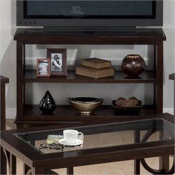 Jofran Panama Sofa/TV Stand with Tempered Glass Inserts in Brown