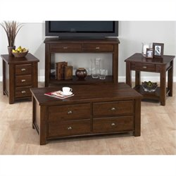 Jofran 4 Piece Box Occasional Set in Urban Lodge Brown