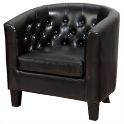 Jofran Gianni Tufted Leather Club Barrel Chair in Chestnut