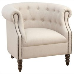 Jofran Grace Tufted Club Barrel Chair in Natural