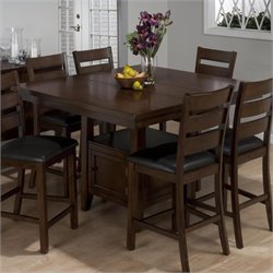 Jofran Counter Height Double Header Dining Table in Brown Cherry