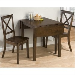 Jofran 3 Piece Drop Leaf X Back Dining Set in Taylor Cherry
