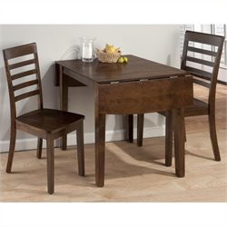 Jofran 3 Piece Drop Leaf Slat Back Dining Set in Taylor Cherry