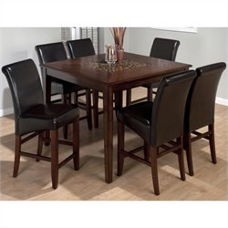 Jofran 697 Series 7 Piece Counter Height Dining Set with Leather Stools
