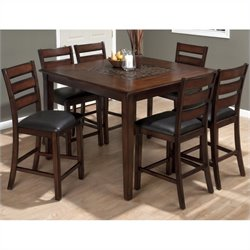 Jofran 697 Series 7 Piece Counter Height Dining Set with Slat Back Stools