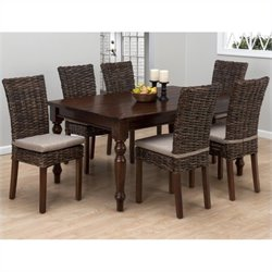 Jofran 7 Piece Rectangular Dining Set with Rattan Chairs in Urban Lodge Brown