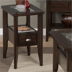 Jofran 827 Series Chairside Table in Birch Veneers in Montego Merlot