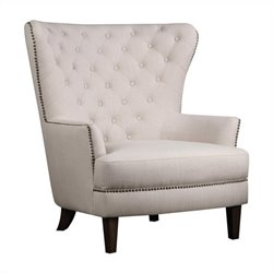 Jofran Upholstered Accent Conner Tufted Arm Chair in Creme