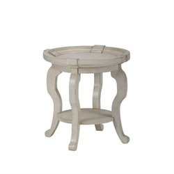 Jofran Sebastian Round End Table in Antique Cream