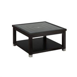 Jofran Warren Square Glass Top Coffee Table in Oak