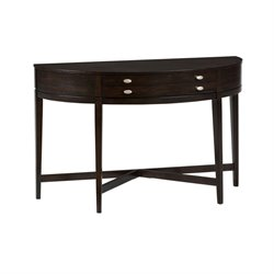 Jofran Kent County Miniatures Demilune Console Table in Dark Oak