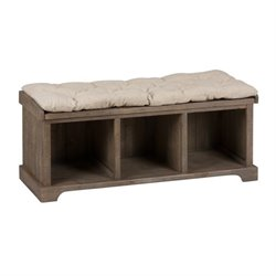 Jofran Slater Mill Pine Wood Storage Living Room Bench in Brown