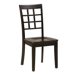 Jofran Simplicity Wood Grid Back Dining Chair in Espresso (Set of 2)