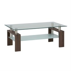 Jofran Compass Glass Rectangle Coffee Table in Chrome and Wood