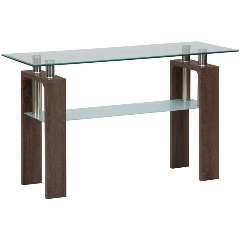 Jofran Compass Glass Console Table In Chrome And Wood