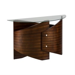 Jofran Waterville Glass Demilune Console Table in Walnut