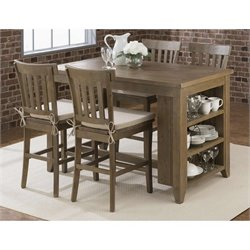 Jofran Slater Mill Counter Height Dining Set in Reclaimed Pine