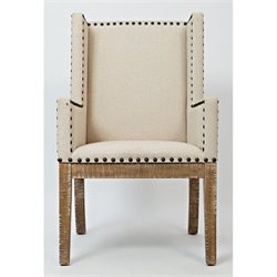 Jofran Pacific Heights Upholstered Dining Arm Chair in Bisque and Cream