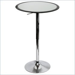 Lumisource Ribbon Round Fiberglass Bar Table in Silver