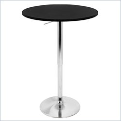 Lumisource Adjustable Bar Table with Black Top