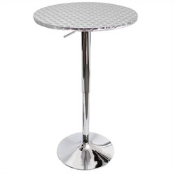 Lumisource Bistro Round Bar Table in Silver