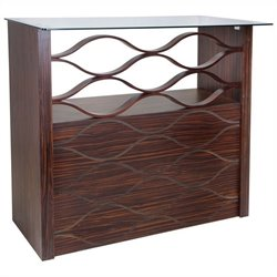 Lumisource Wave Home Bar in Walnut