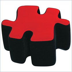 Lumisource Puzzotto Ottoman in Red and Black
