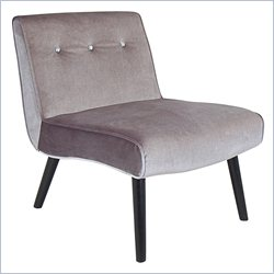 Lumisource Vintage Crush Velvet Tufted Accent Swayback Chair in Gray