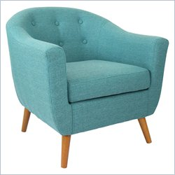 Lumisource Rockwell Tufted Accent Barrel Chair in Blue